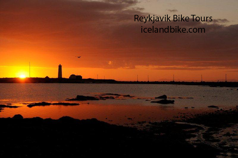 Midnight sun in Reykjavik Iceland Grotta lighthouse