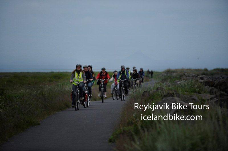 Bicycle tour at Midnight Reykjavik