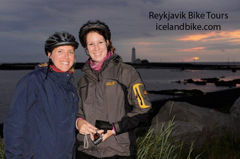 Enjoying the view on a bicycle tour in Reykjavik