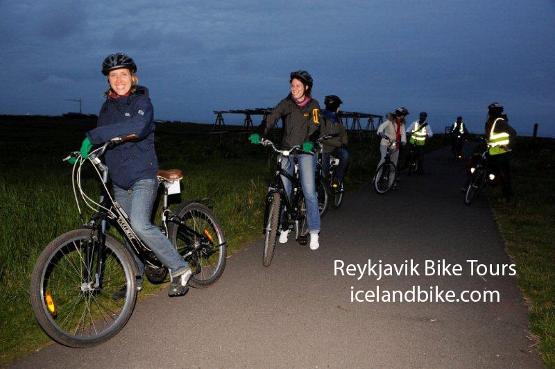 Bicycle tour at midnight in August