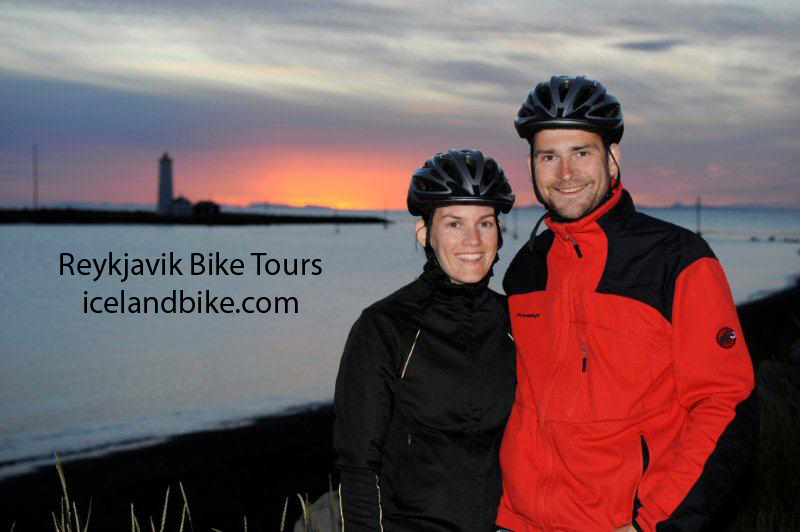 Bike tour at Midnight in Reykjavik Iceland